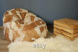 100 Natural Sheepskin Bean Bag Chair For Adults, Genuine pouf with styrofoam granules