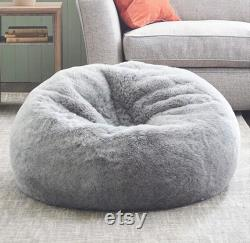 15 Off Extra Large Gorgeous GREY Faux Rabbit Fur Bean Bag Cover Only. FREE Worldwide Shipping