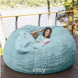 7-Foot Bean Bag Chair with Furry Fur Cover Machine Washable Big Size Sofa and Giant Lounger Furniture