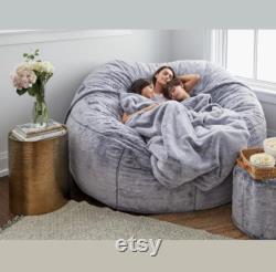 7ft Giant Fur Bean Bag Cover Living Room Furniture Big Round Soft Fluffy Faux Fur BeanBag Lazy Sofa Bed Coat