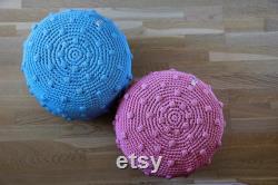 Baby blue bubble crochet pouf stuffed floor pillow, knit ottoman, popcorn pouf