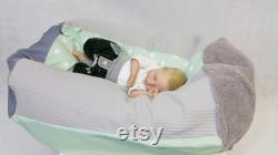 Baby pillow, child seat bag mint, waffle piquet 40