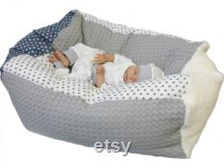 Baby pillow, child seatbag starlet grey 45