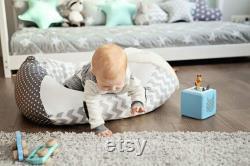 Baby pillow grey, zigzag, child seatbag 39