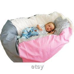 Baby pillow pink-grey-white, child seatbag 32