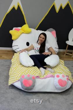 Bean Bag Bed Kitty Kids Bean Bag Bean Bag Adult Bean Bag Floor Pillow Large Size Bean Bag Chair
