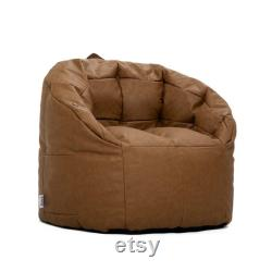 Bean Bag Chair, Caramel Faux Leather