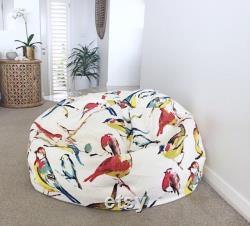 Bean Bag Cover, Birdwatcher Linen Bean Bag Cover, Kids Bean Bag, Adults Bean Bag Cover, Birds, Linen