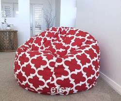 Bean Bag Red Bean Bag, Quatrafoil, Moroccan Design, Kids Bean Bag Adults Bean Bag, Grey