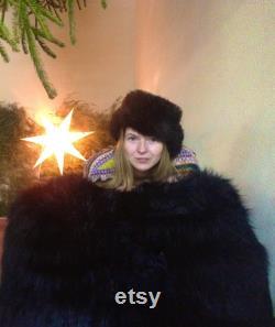 Bean bag fur, faux fur bag chair, pouf black