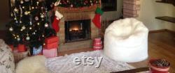 Bean bag fur, faux fur bag chair, pouf white