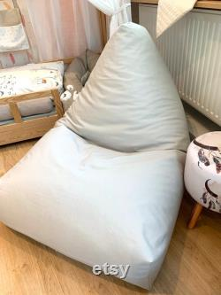 Beanbag CANENYA- LIGHTGREY Seat cushion for children and teenagers 110cm or 140cm long Floor cushion for every room chic and stylish