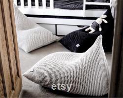 Bedroom Furniture Knitted Bean Bag Chair, Kids Beanbag Chair, Kids Bean Bag, Chair For Kids, Bean Chair, Bean Bag Kids, Scandinavian Kids