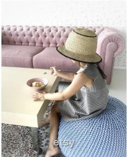Blue large cotton knit round pouf ottoman Footrest Kids Crochet pouf