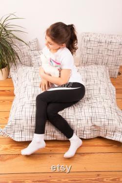 CANENYA XXL Seat Cushion Black White Floor Cushion 100cm x 110cm Beanbag for's Kids Cool Home Accessories for' Kids Room