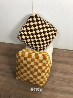 CHECKERED COVER POUF Moroccan handcraft weaving natural materials in so many amazing colors