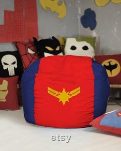 Captain Marvel bean bag cover, Carol Danvers, Superhero Christmas Gift, Cap Marvel gift, Cap Marvel movie, Cap Marvel logo, (COVERS ONLY)