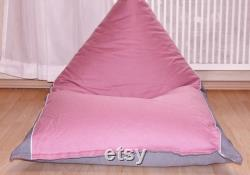 Children beanbag for girls . old pink grey . Handmade. Available in different sizes .