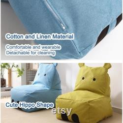 Children s Lazy Sofa Cute Hippo Bean Bags Cartoon Tatami Chairs Sofa Kids Lounger Seat Pouf Puff Couch Living Room