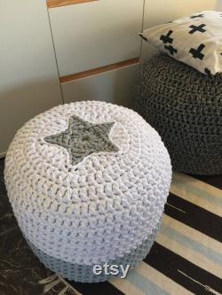 Crochet Nursery Ottoman with Star, Yellow Gray Round Knit Pouffe, Kids Room Floor Pouf Seating