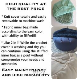 Crochet Pouf Ottoman, Light Blue Nursery Footstool, Round Floor Pillow Seating New Mom Gift for Nursery Decor