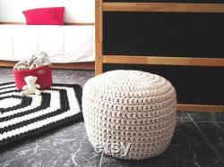 Crochet Pouf Ottoman, Round Knit Pouffe Footstool Modern Home Decor