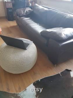 Crochet pouf Large 24'' Linen gray -Ottoman- Floor Cushion- Large Floor Pillow-Home decor -Floor Chair-Bean Bag Chair