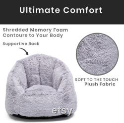 Delta Home Adult Lounge Fluffy Foam Filled Living Rooms and Dorms-Better Than A Bean Bag Chair, Grey