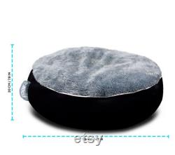 Donut Plush Pet Dog Cat Bed Fluffy Soft Warm Sleepping Calming Bed Beanbag Style