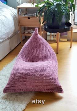 Dusty pink antique rose knitted kids adult bean bag Chunky wool floor pillow Playroom chair