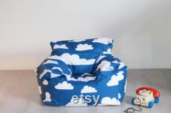 FILLED Swedish blue and white cloud print beanbag chair for baby, toddler, preschooler boys and girls. For nursery, living room, play room.