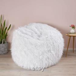 Faux Fur Fuzzy Bean Bag Chair for Adult Kid Pet Any Room, White