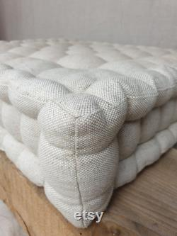 Flaxseed cotton quilted mattress, floor pillow, French mattress light beige
