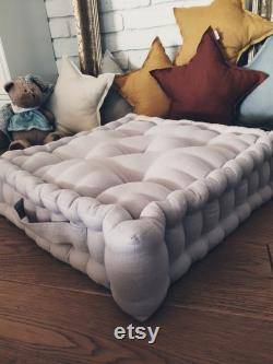 Floor pouf, Mattress, Quilted Cushion, Floor Seating, Flax quilted pouf, floor cushion
