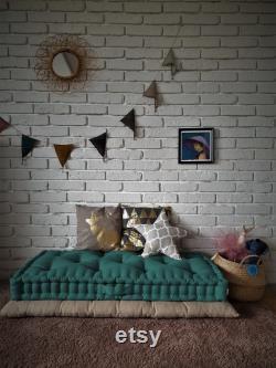 French mattress, floor cushion, quilted mattress, pillow, window seat, headboard, Quilted linen mattress green