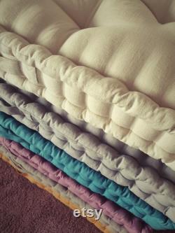French mattress, floor cushion, quilted mattress, pillow, window seat, headboard, quilted linen mattress light beige,