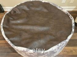 Giant 5ft bean bag chair handmade soft and furry faux cowhide faux leather triple stitched heavy duty 2 person made in USA