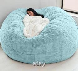 Giant Bean Bag Chair Pv Fur Fabric Cover Only Luxury 7 Foot Big Size Sofa
