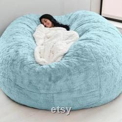 Giant Fluffy Fur Bean Bag Bed Slipcover Case Floor Seat Couch Futon Lazy Sofa Recliner Pouf, Home Decor