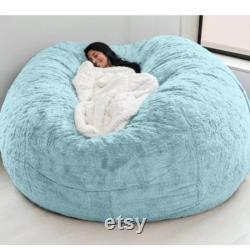 Giant Fur Bean Bag Cover Living Room Furniture Big Round Soft Fluffy Faux Fur BeanBag Lazy Sofa Bed Coat