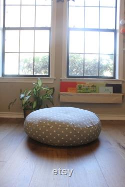 Gray and White Triangle Floor Pillow With Insert Free Shipping Made in the USA