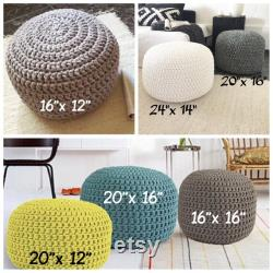 Grey Round Knit Ottoman, Chunky Cotton Footstool Pouffe, Gender Neutral Floor Pouf Seating Modern Nursery Puff Chair