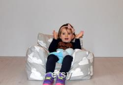 Grey and white cloud print toddler beanbag chair made out premium cotton. For babies up to school age kids. Washable, removable covers.