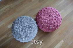 Grey bubble crochet pouf, stuffed floor pillow, knit ottoman, popcorn pouf