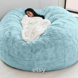 HOT 2021 Soft Comfortable Giant fur Bean Bag Cover Living Room Decoration Rest Furniture Round Sofa Bed Cover