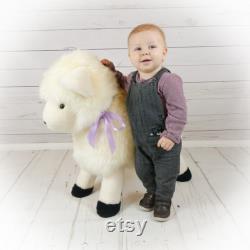 Handmade British Sheepskin Sheep Footstool ideal for Playrooms and a Nursery