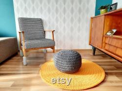 Handmade Knitted Pouf, Crochet Pouffe, Knitted Ottoman Footstool, floor cushion, floor poof, pouf rond, sitzkissen, sitzpouf, bodenkissen
