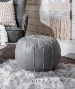 Handmade Moroccan Leather Filled Ottoman Dark Grey Round Pouf