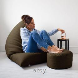 Humbug Bean bag and Matching Footstool Design Barley Linen look