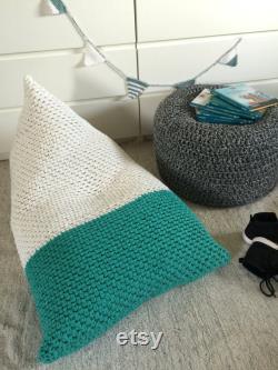 Kid Lounge Bean Bag Chair, Large Floor Pillow Seating, Hand Knit Daybe Cushion, Pyramid Playroom Sitzsack